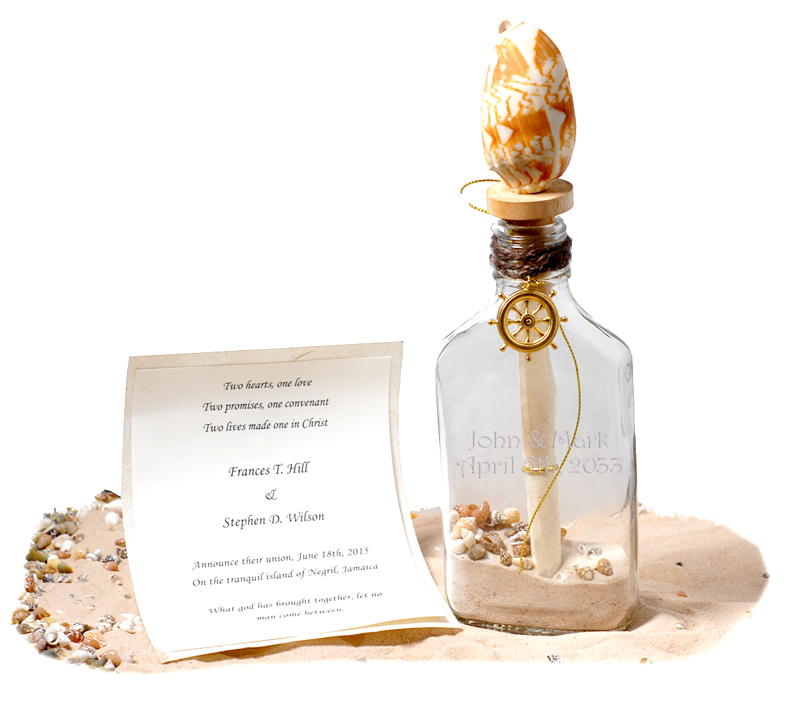 Beach Invitation in a Bottle Shell Wine Stopper