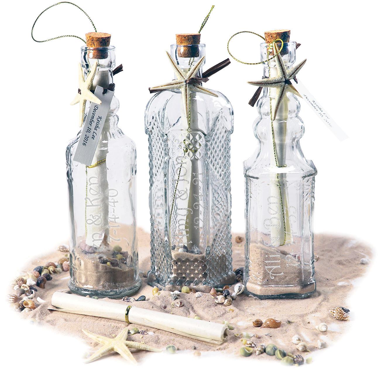 Decorative Glass Starfish Message In A Bottle Wedding Invitation