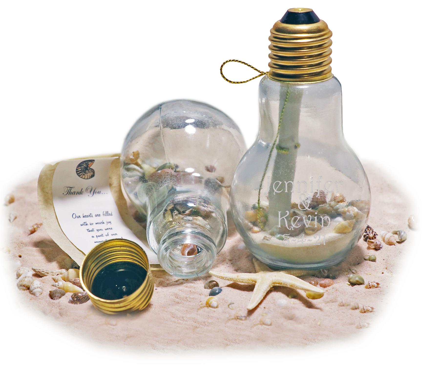 Brighter Future Beach Sand Seashell Message in a Light Bulb Invitation
