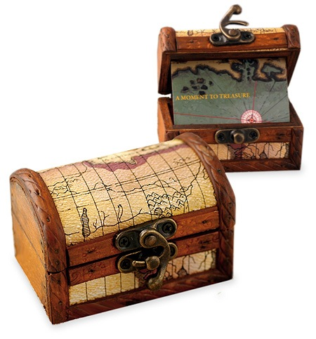 Personalized Wood Treasure Map Chest Box