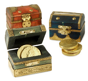 Miniature Handmade Golden Wood Treasure Chest Box*