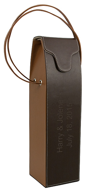 2-Tone Mocha Brown Wine Bottle Carrier with Strap