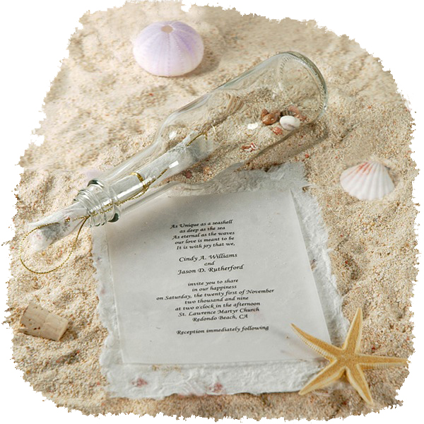Message in a Bottle Invitation With Optional Mulberry Paper