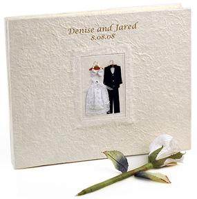 Bride Groom White Wedding Guest Book