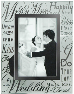 signature newlywed memory glass picture frame