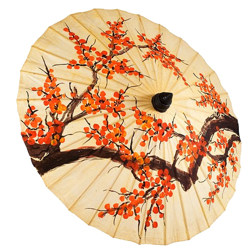 Hand Painted Orange Blossom Thai Wedding Parasol