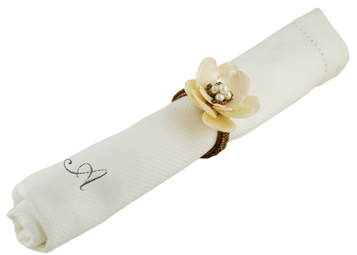 Ivory Pearl Rose Beaded Napkin Ring Holder