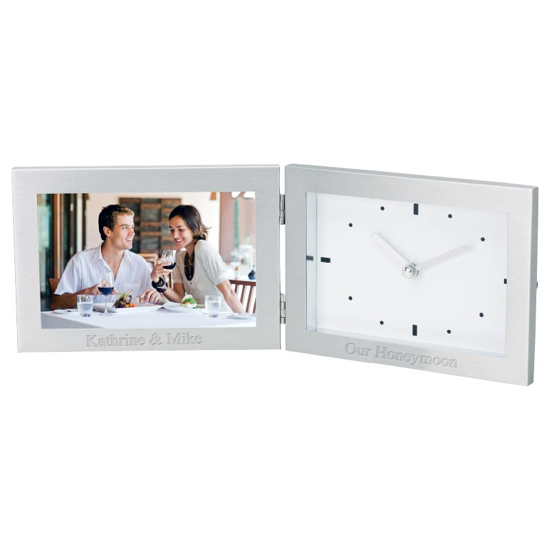 6 x 4 personalized silver picture frame clock