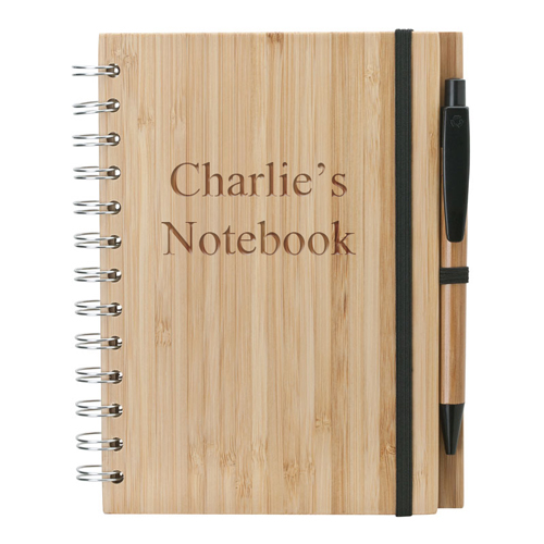 Personalized Bamboo Notebook and Pen