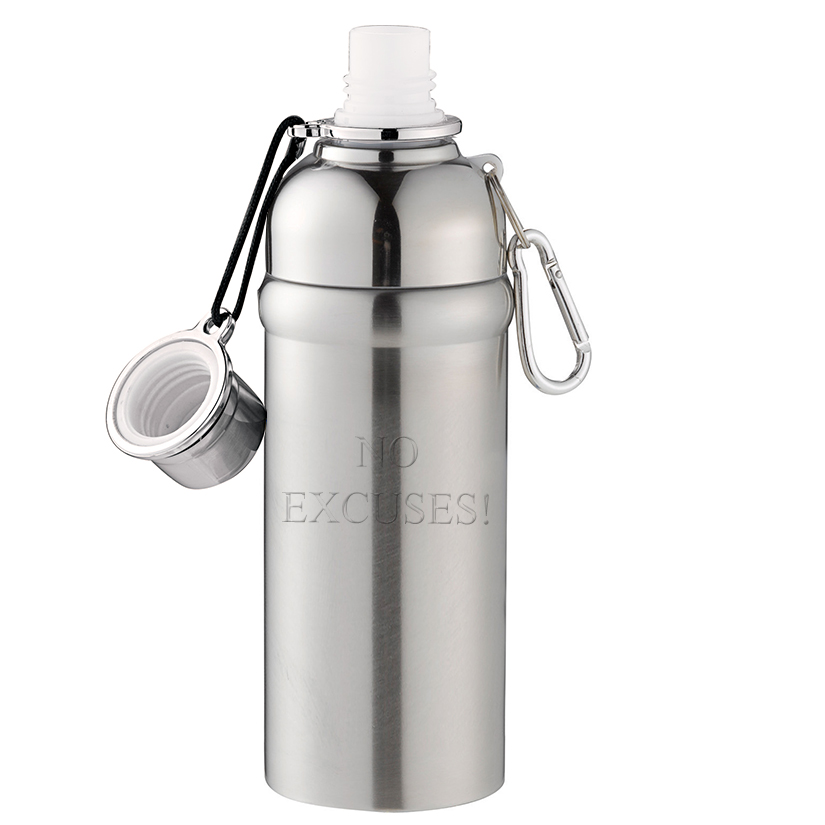 18oz Engraved Stainless Steel Water Canteen Bottle + Carabiner