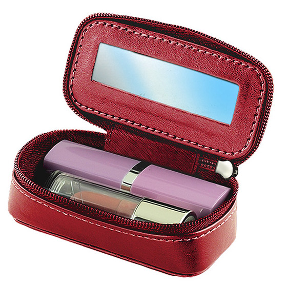Red Cosmetic Compact Zipper Mirror Lipstick Leatherette Case