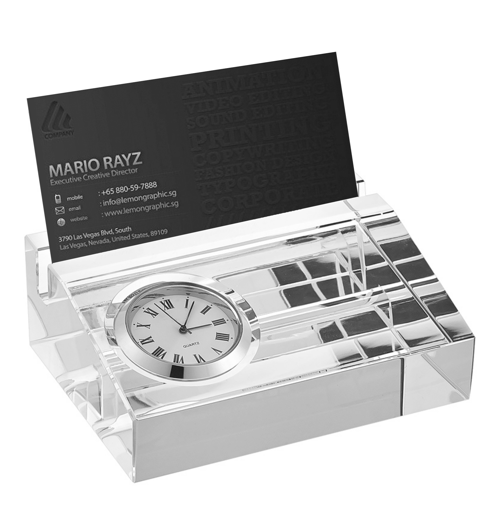 Crystal Name Plate and Desktop Clock Business Card Holder