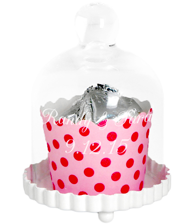 Personalized Glass Dome Wedding Bell Cupcake