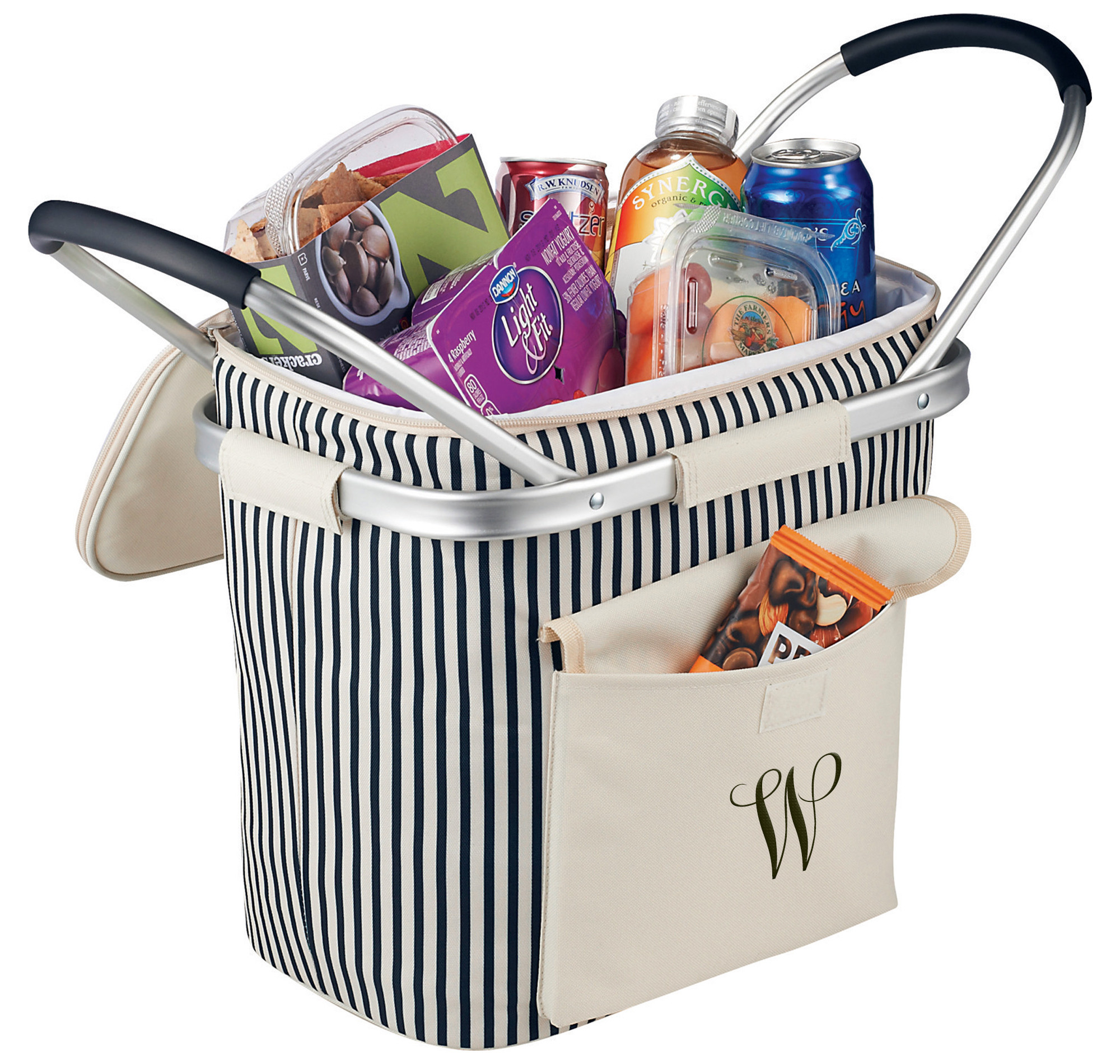 Collapsible Striped Picnic Basket Cooler with Double Aluminum Handles