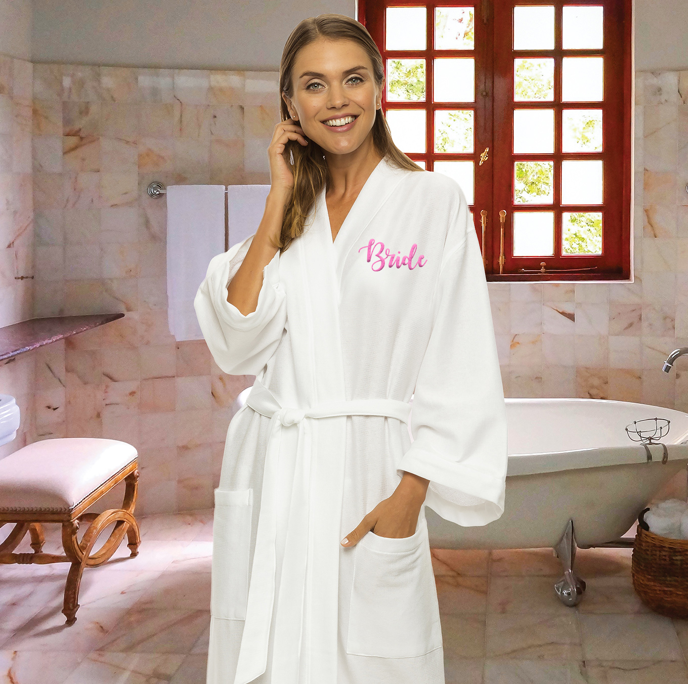 White Luxury Terry Kimono Bathrobe with Dual Pockets  HansonEllis.com 1fd32c768