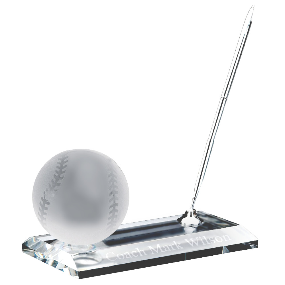 Crystal Desk Name Plate Pro Baseball Paper Weight and Pen Desk Stand Set