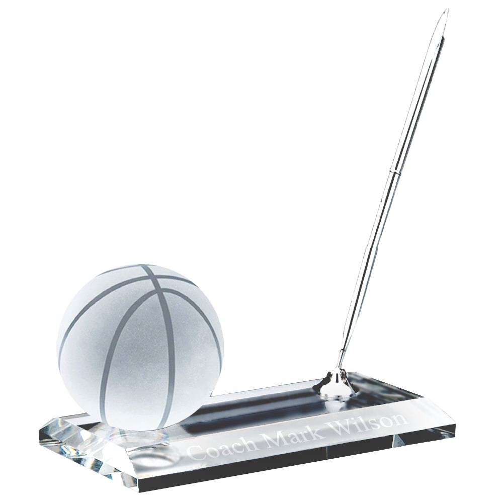 Crystal Desk Name Plate Basketball Paper Weight and Pen Desk Stand Set