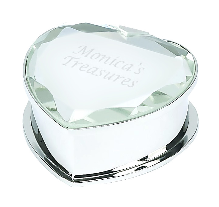 Polished Silver Finish w/ Glass Mirror Cover Heart Trinket Box