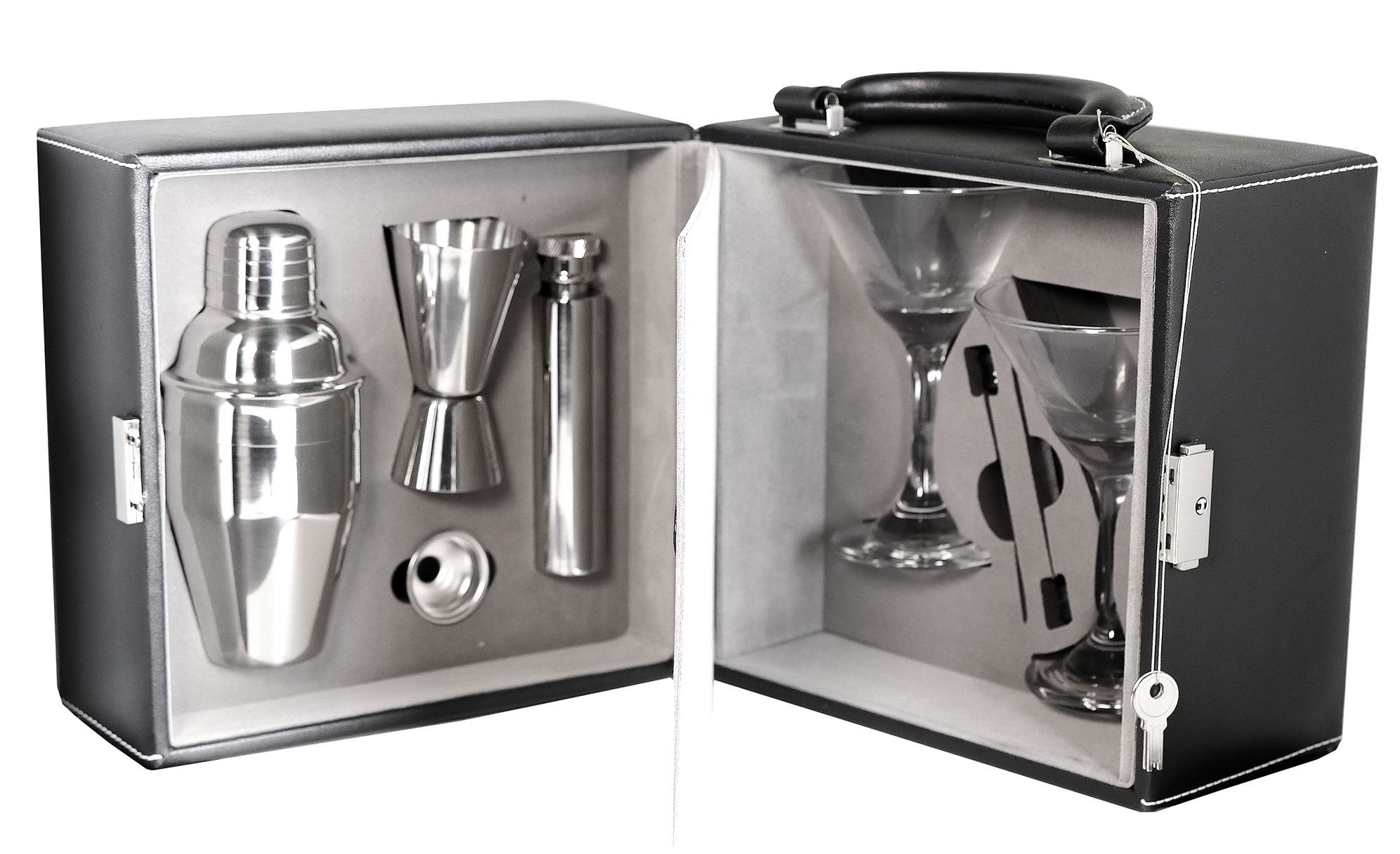 His & Hers Stainless Steel Martini Bar Glass Set with Hard Carry Case