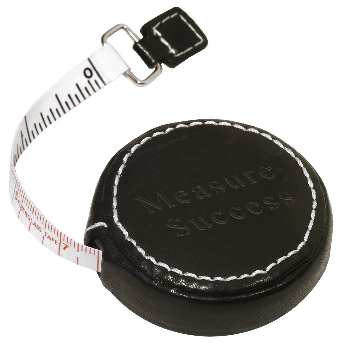 Round Cowhide Leather Locking Measure & Press-Release Tape Measure