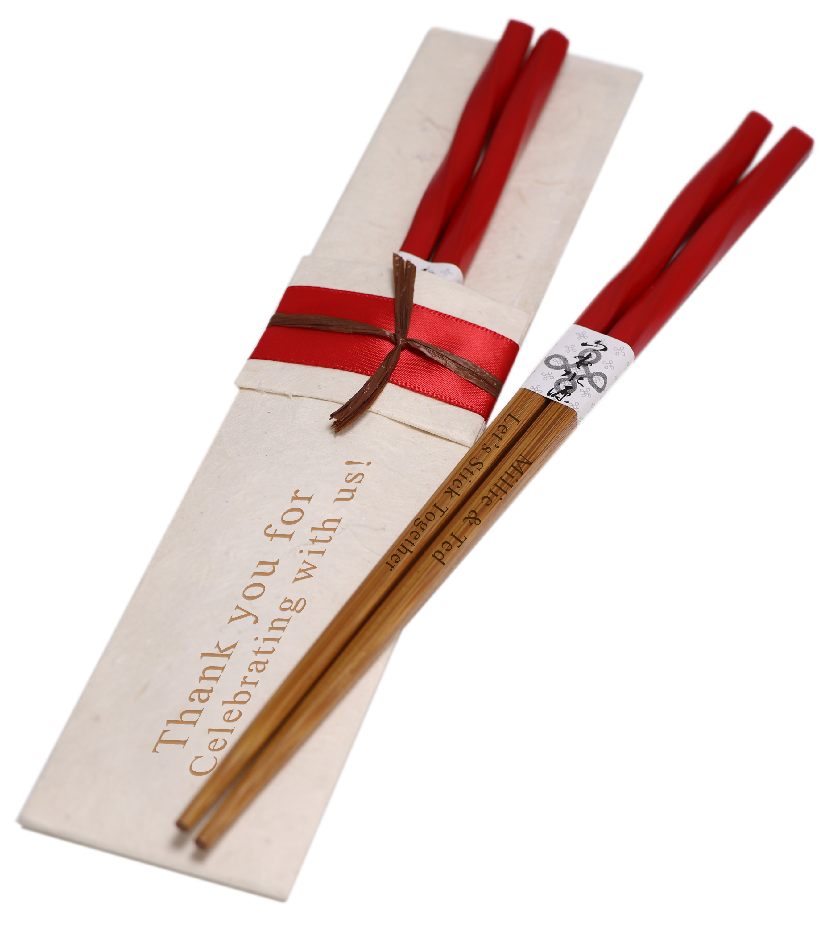 Personalized Twisted Red Chinese Bamboo Chopsticks & (Optional) Handmade Lokta Pouch