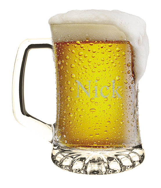 Personalized Glass Sports Beer Mug