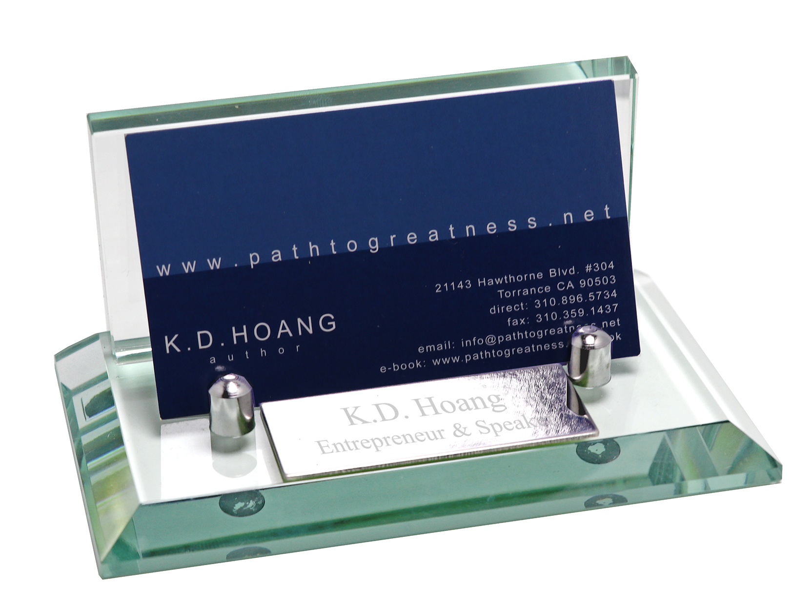 Professional Glass Business Card Holder With Name Plate