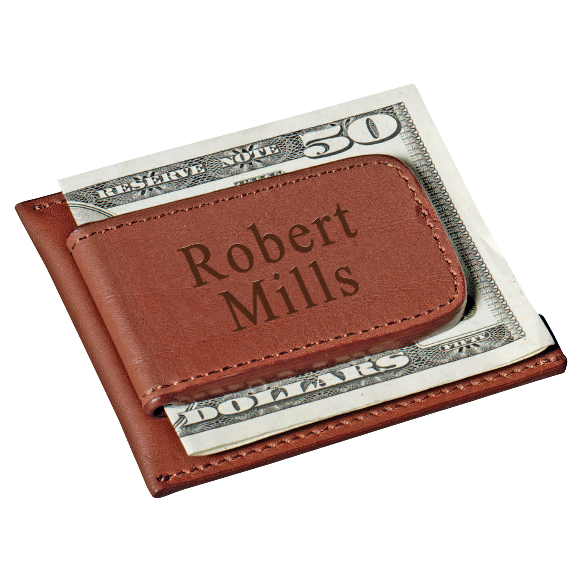 Brown Leather Magnetic Credit Card and Money Clip Holder