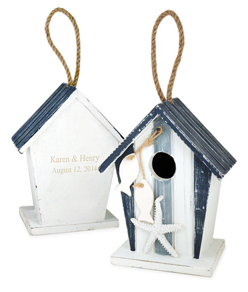 Nautical Beach Wood Love Bird House