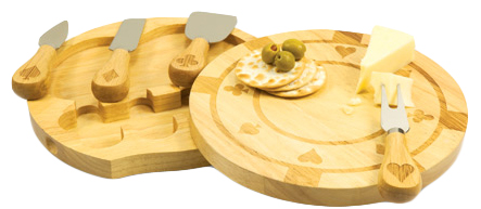 Eco-Friendly Engraved Poker Chip Cutting Board With Cheese Accessories*