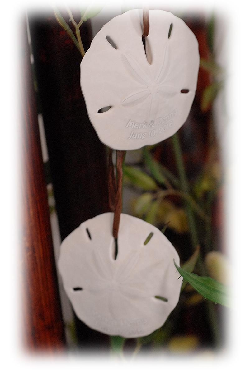 Sand dollar ornament - Personalized Beach Sand Dollar Ornament With Hanging Raffia Ribbon