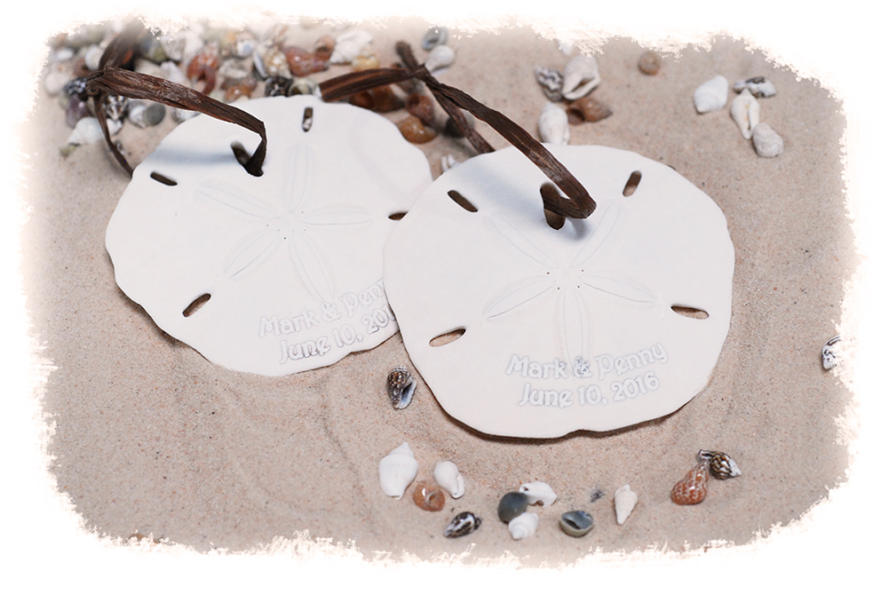 Personalized Beach Sand Dollar Ornament with Hanging Raffia Ribbon