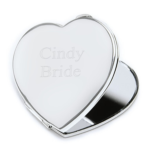 Silver Polish Finished Compact Heart Mirror