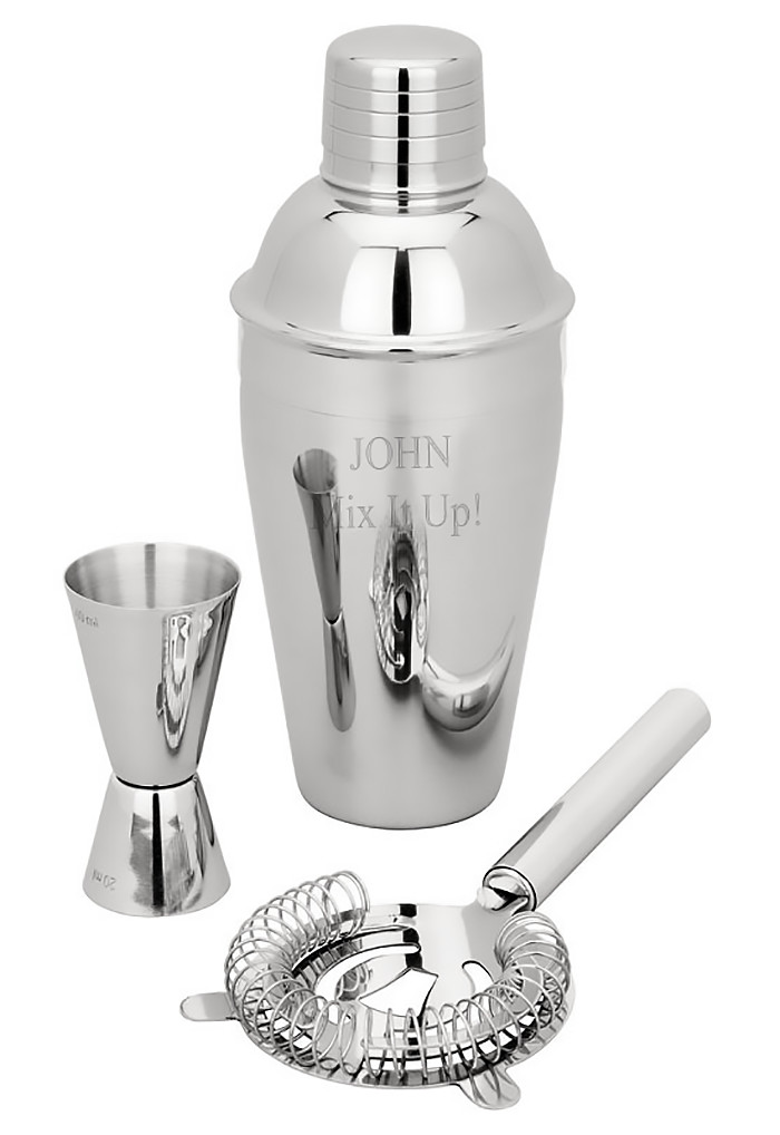 Personalized Stainless Steel Martini Shaker Double Jigger Strainer Set