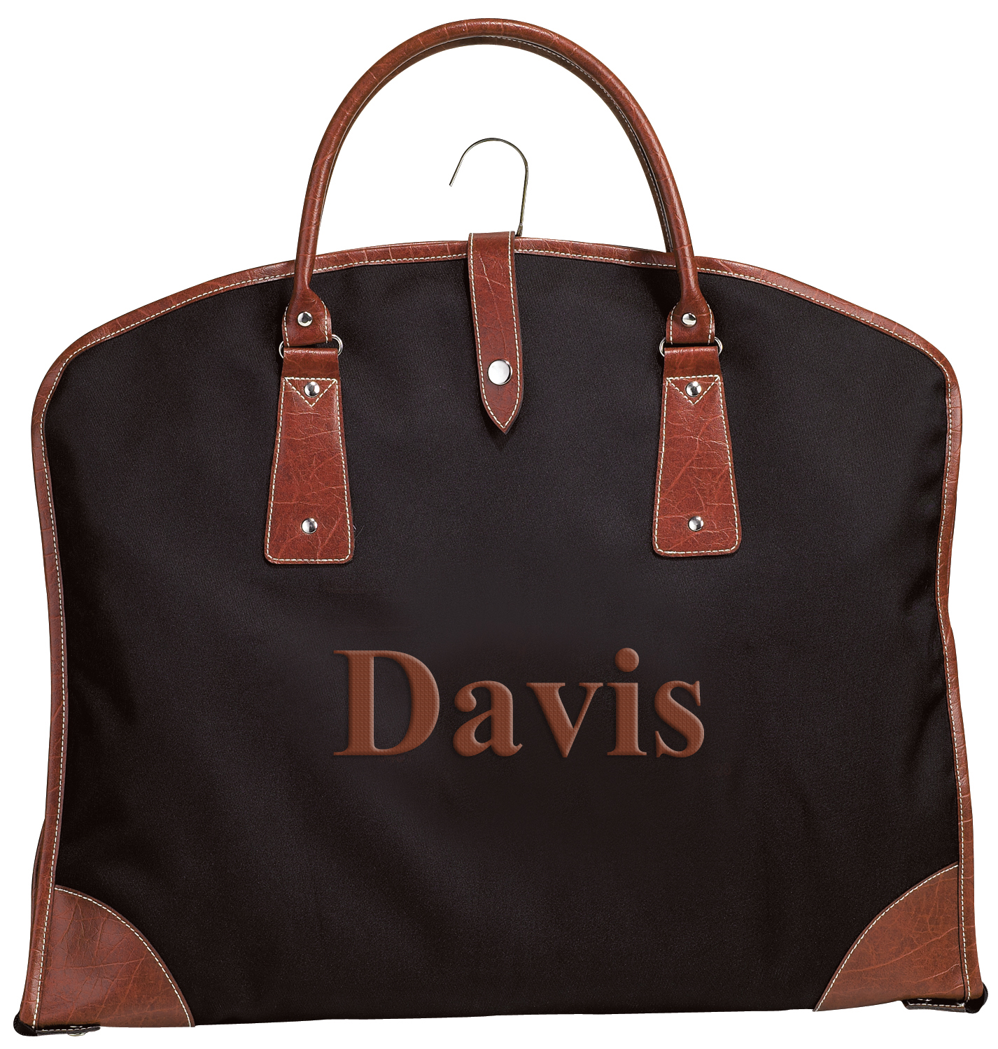 Travel Suit Bag with Brown Leatherette Trim & Interior Pockets