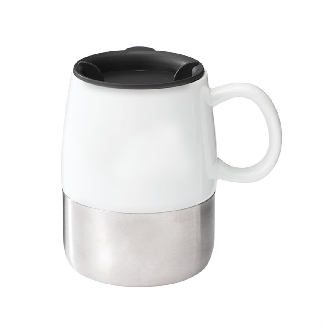 White Ceramic Coffee Mug With Easy Push On Seamless Lid
