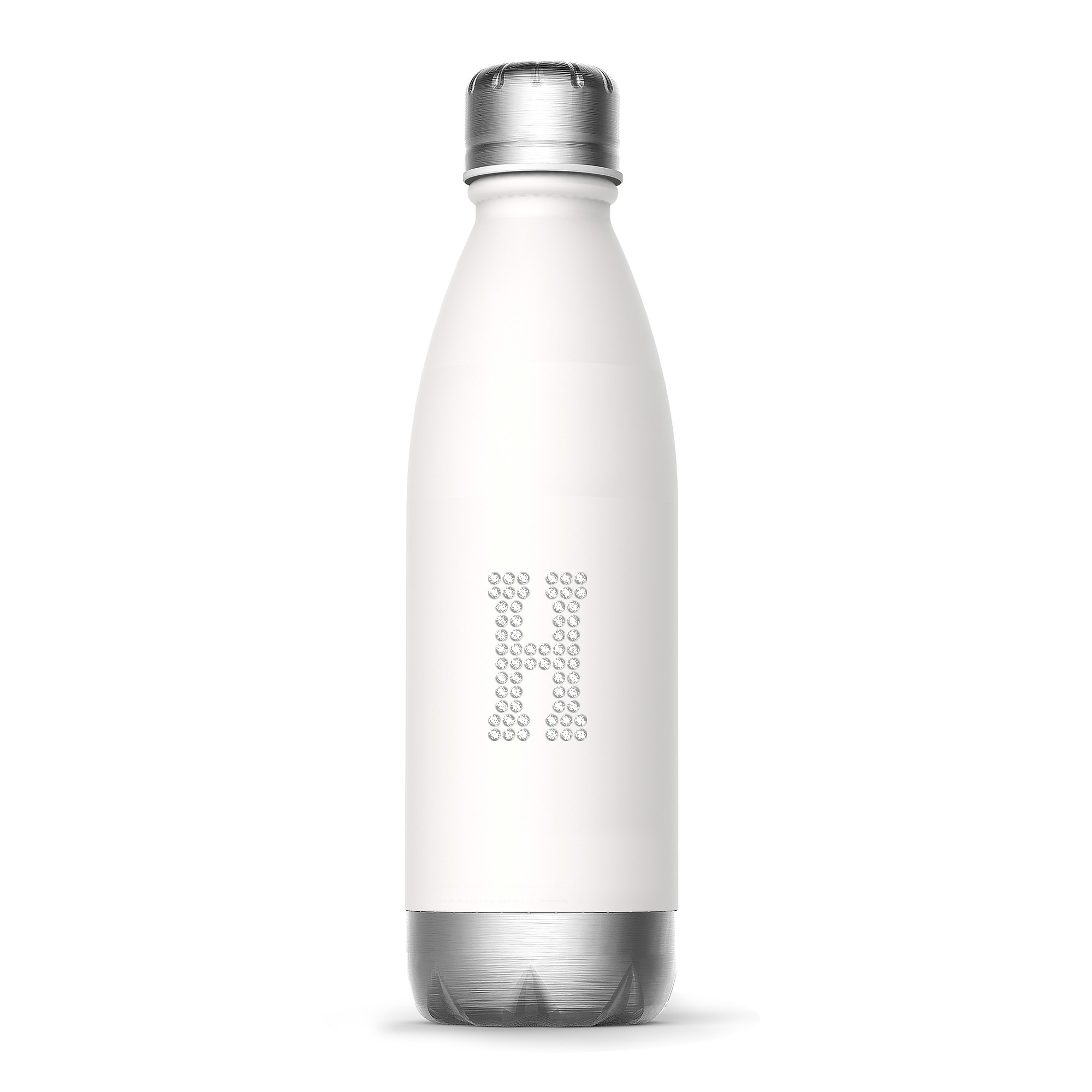 White Vacuum Sealed Fitness Water  Bottle (Optional Personalized Crystal Rhinestones)