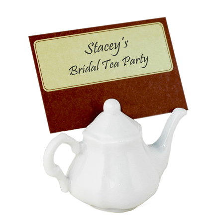 Victorian White Porcelain Teapot Place Card Holder