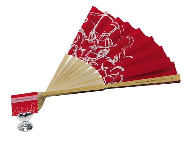 Red Asian Hearts Bamboo Wedding Fan