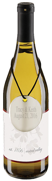 Personalized Silver Round Wine Bottle Tag