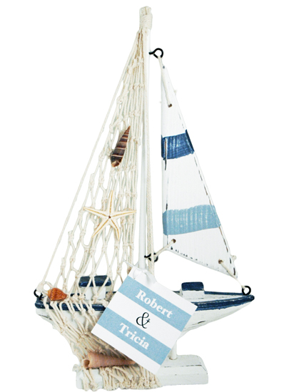 'Sailing Away Together' Wooden Nautical Sailboat