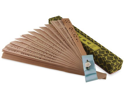 Chinese Sandalwood Fan w/ Custom Rose Satin Ribbon