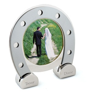 lucky silver horseshoe picture frame
