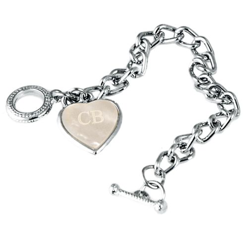 Seashell Heart Charm Bracelet w/ Simple Bar and Circle Clasp