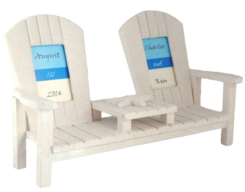 "2"" x 3"" Bride & Groom 'Seat for Two' Sandy Bench Picture Frame"