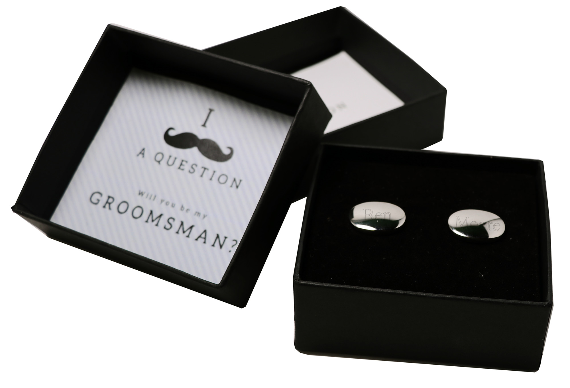 Will You Be my Groomsman/Best man Engraved Silver Cuff Links Gift Box