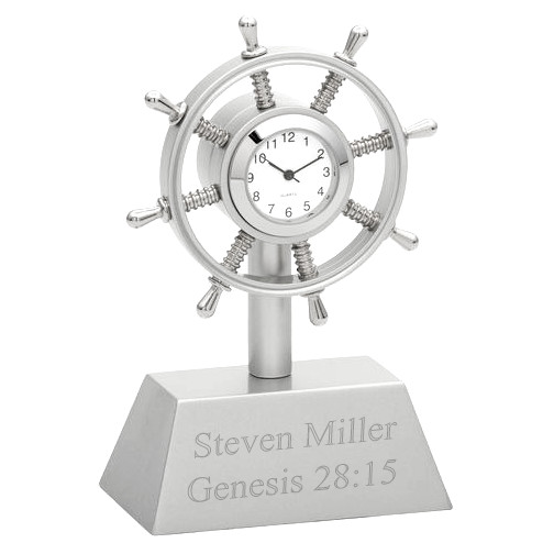 Nautical Sailboat Wheel Office Mini Desk Clock