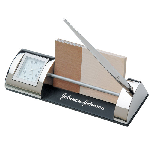 Silver Clock and Card Holder Pen Set*