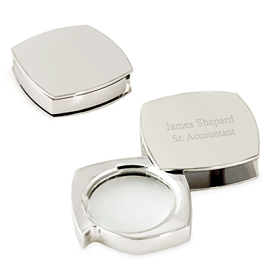 Personalized Silver Office Paper Weight Magnifier