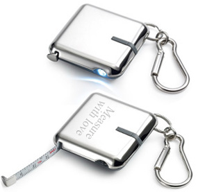 Silver Measuring Tape Key Holder with LED Flashlight*